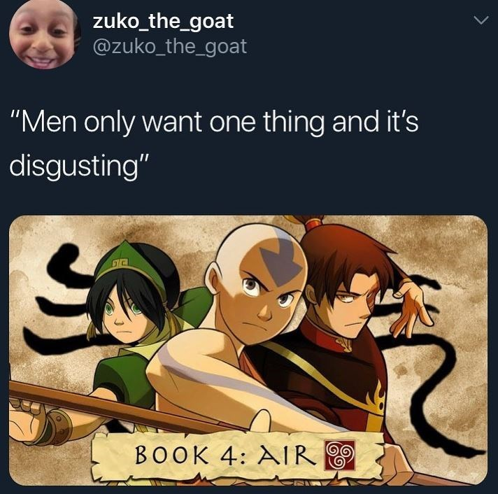 """Cartoon - zuko_the_goat @zuko_the_goat """"Men only want one thing and it's disgusting"""" BOOK 4: AIR"""