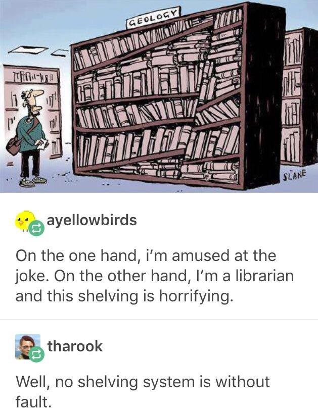 Font - GEOLOGY SLANE ayellowbirds On the one hand, i'm amused at the joke. On the other hand, I'm a librarian and this shelving is horrifying. tharook Well, no shelving system is without fault.