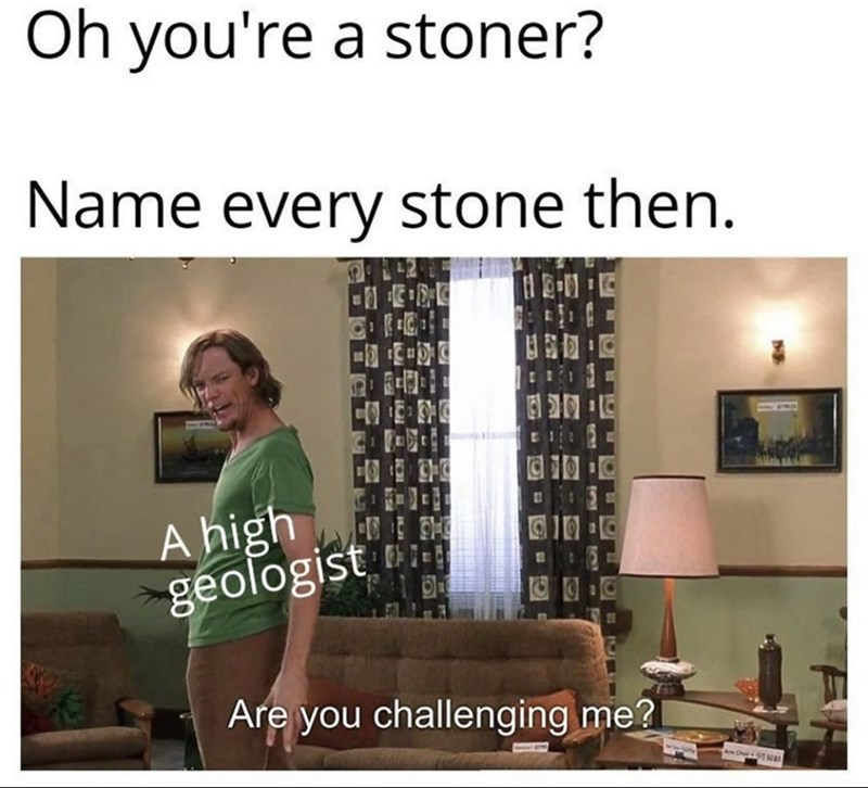 Text - Oh you're a stoner? Name every stone then. A high geologist 10 Are you challenging me?