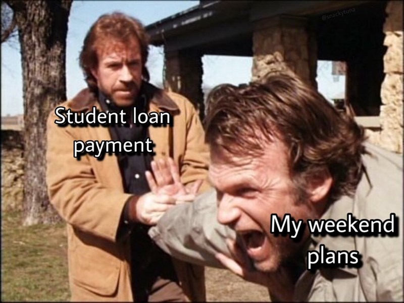 Facial expression - @snackytuna Student loan payment My weekend plans