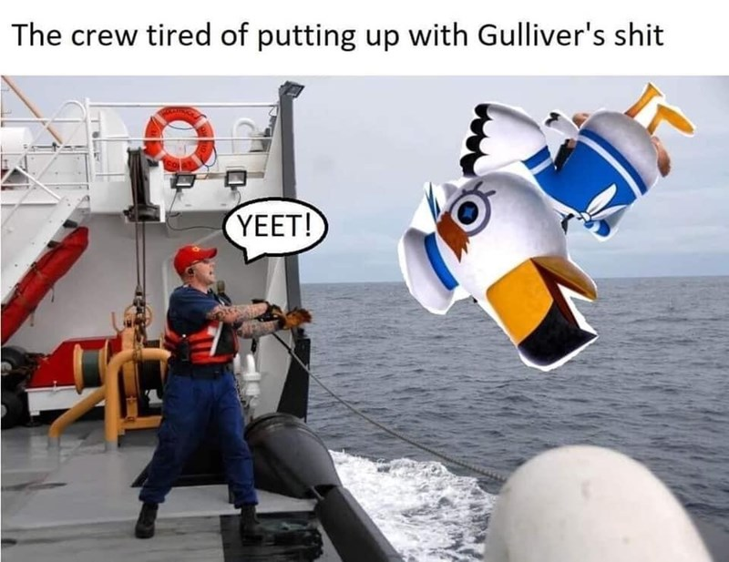 Cartoon - The crew tired of putting up with Gulliver's shit YEET!