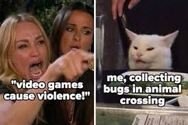 "Cat - ""video games cause violence!"" me, collecting bugs in animal crossing."