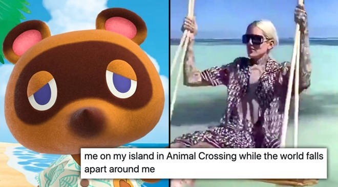 Animated cartoon - me on my island in Animal Crossing while the world falls apart around me