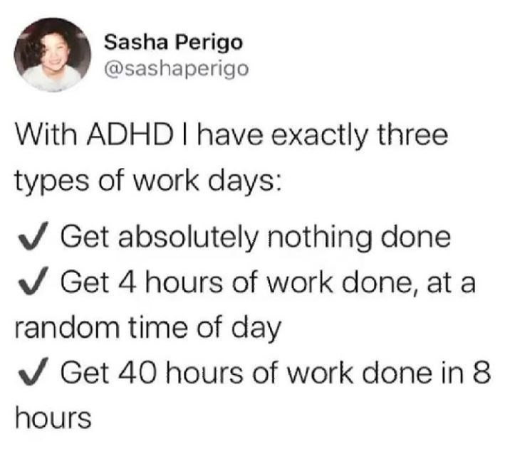 Text - Sasha Perigo @sashaperigo With ADHD I have exactly three types of work days: V Get absolutely nothing done V Get 4 hours of work done, at a random time of day V Get 40 hours of work done in 8 hours