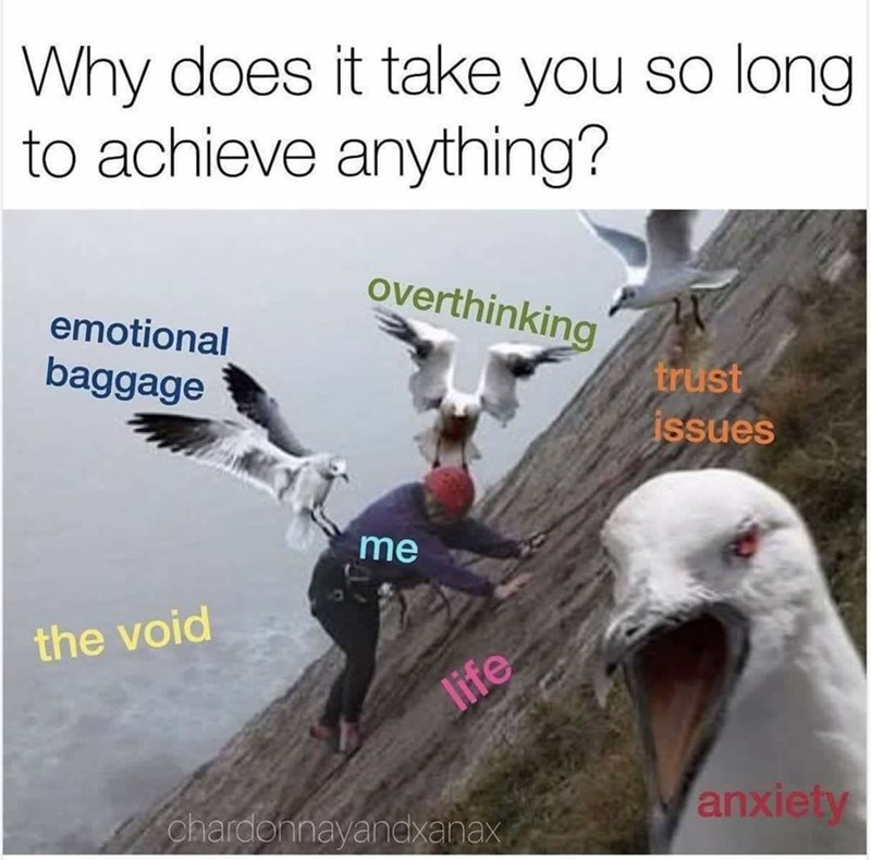 Text - Why does it take you so long to achieve anything? overthinking emotional baggage trust issues me the void life chardohnayandxanax anxiety