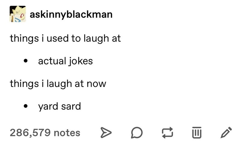 Text - askinnyblackman things i used to laugh at actual jokes things i laugh at now yard sard 286,579 notes