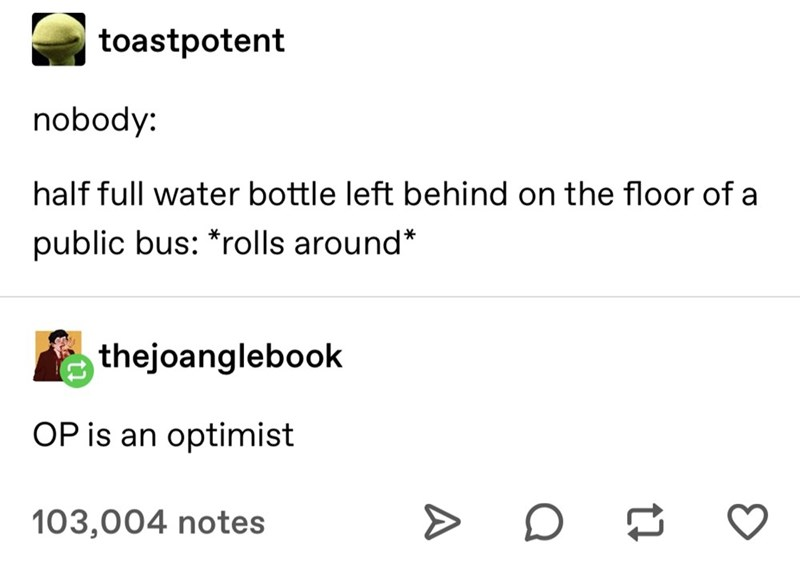 Text - toastpotent nobody: half full water bottle left behind on the floor of a public bus: *rolls around* thejoanglebook OP is an optimist 103,004 notes