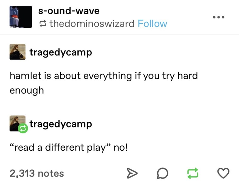 "Text - s-ound-wave S thedominoswizard Follow tragedycamp hamlet is about everything if you try hard enough tragedycamp ""read a different play"" no! 2,313 notes"
