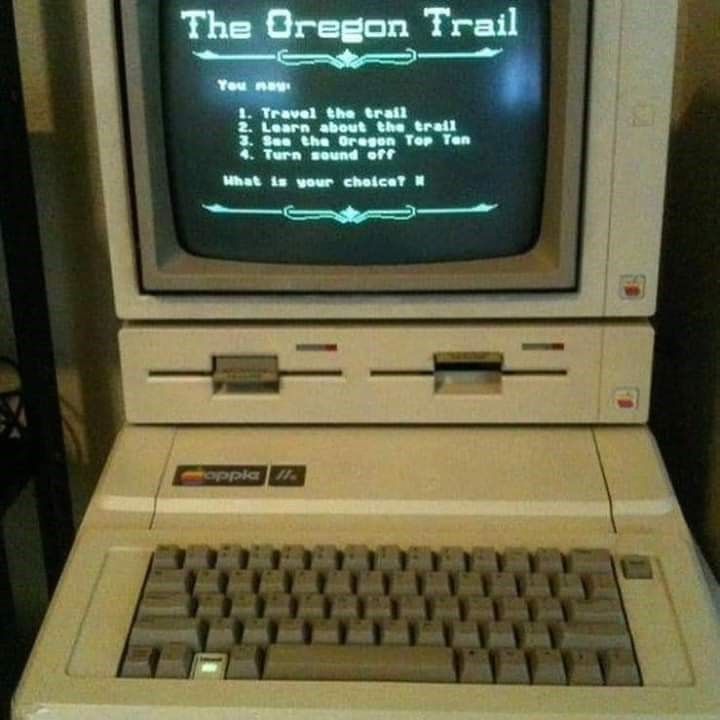 Screen - The Oregon Trail You nay 1. Travel the trail 2. Learn about the trall 3. See the Oregon Top Ten 4. Turn sound off What is your choicet oppla .