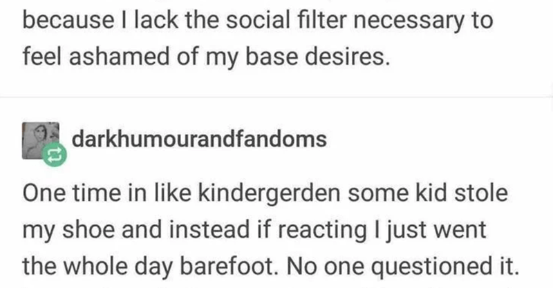 Text - because I lack the social filter necessary to feel ashamed of my base desires. darkhumourandfandoms One time in like kindergerden some kid stole my shoe and instead if reacting I just went the whole day barefoot. No one questioned it.