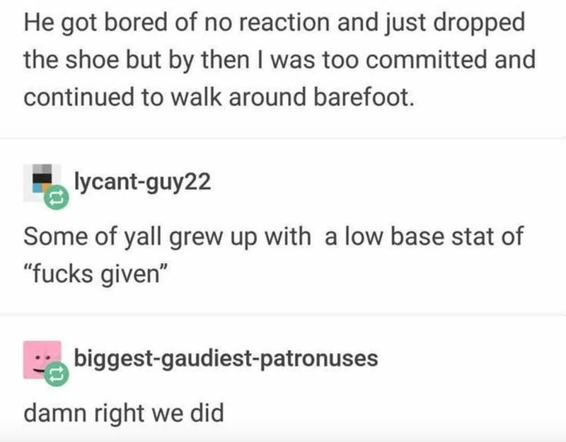 """Text - He got bored of no reaction and just dropped the shoe but by then I was too committed and continued to walk around barefoot. lycant-guy22 Some of yall grew up with a low base stat of """"fucks given"""" * biggest-gaudiest-patronuses damn right we did"""