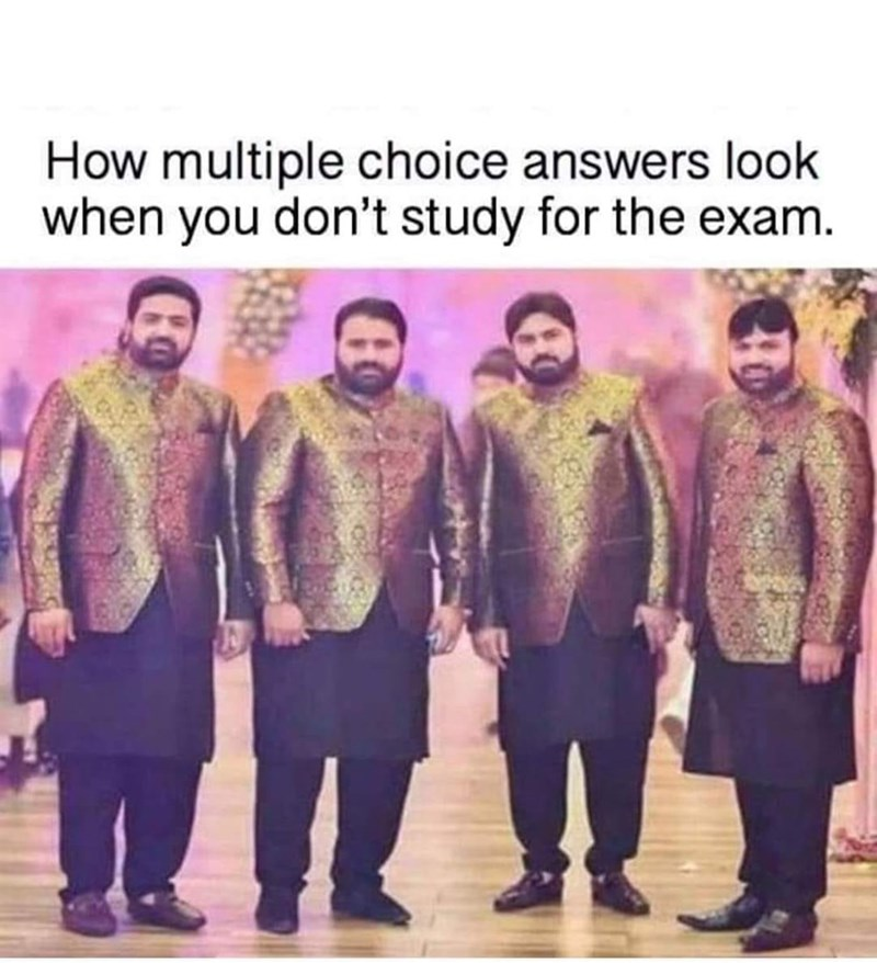 Font - How multiple choice answers look when you don't study for the exam.