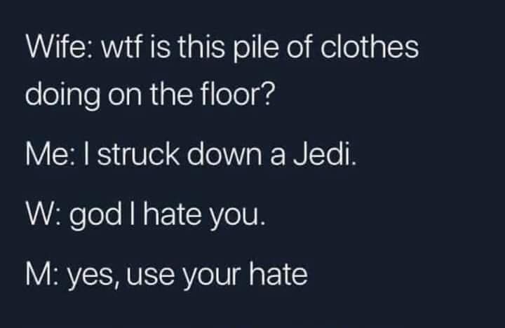 Text - Wife: wtf is this pile of clothes doing on the floor? Me: I struck down a Jedi. W: god I hate you. M: yes, use your hate