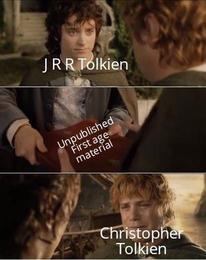 Photo caption - JRR Tólkien Unpublished First age material Christopher Tolkien