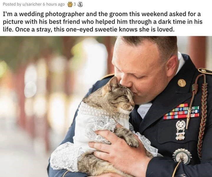 I'm a wedding photographer and the groom this weekend asked for a picture with his best friend who helped him through a dark time in his life. Once a stray, this one-eyed sweetie knows she is loved.