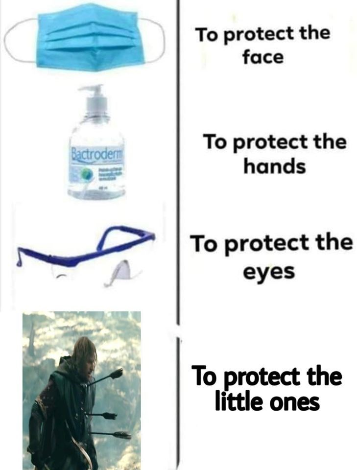 Water - To protect the face To protect the hands Bactrodem To protect the eyes To protect the little ones