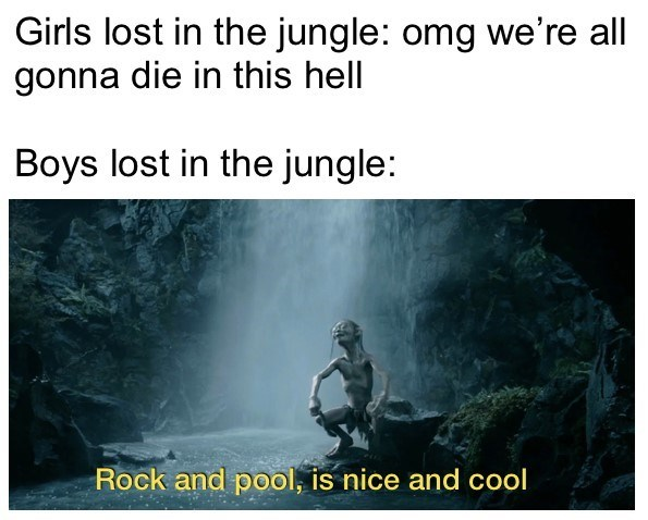 Text - Girls lost in the jungle: omg we're all gonna die in this hell Boys lost in the jungle: Rock and pool, is nice and cool