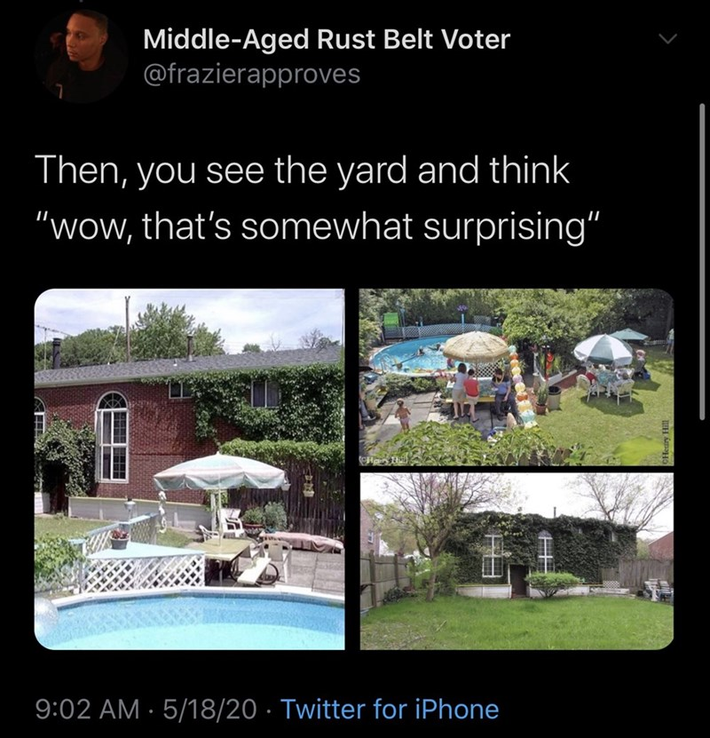 """Adaptation - Middle-Aged Rust Belt Voter @frazierapproves Then, you see the yard and think """"wow, that's somewhat surprising"""" 9:02 AM · 5/18/20 · Twitter for iPhone"""