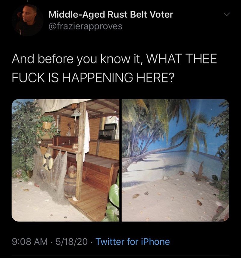 Adaptation - Middle-Aged Rust Belt Voter @frazierapproves And before you know it, WHAT THEE FUCK IS HAPPENING HERE? 9:08 AM · 5/18/20 · Twitter for iPhone