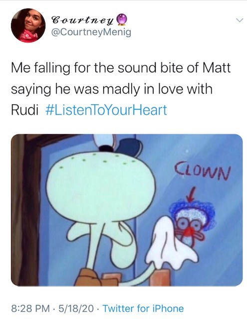 Cartoon - Courtney @CourtneyMenig Me falling for the sound bite of Matt saying he was madly in love with Rudi #ListenToYourHeart CLOWN 8:28 PM · 5/18/20 Twitter for iPhone