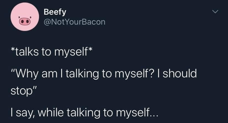 "Text - Beefy @NotYourBacon *talks to myself* ""Why am I talking to myself? I should stop"" I say, while talking to myself..."