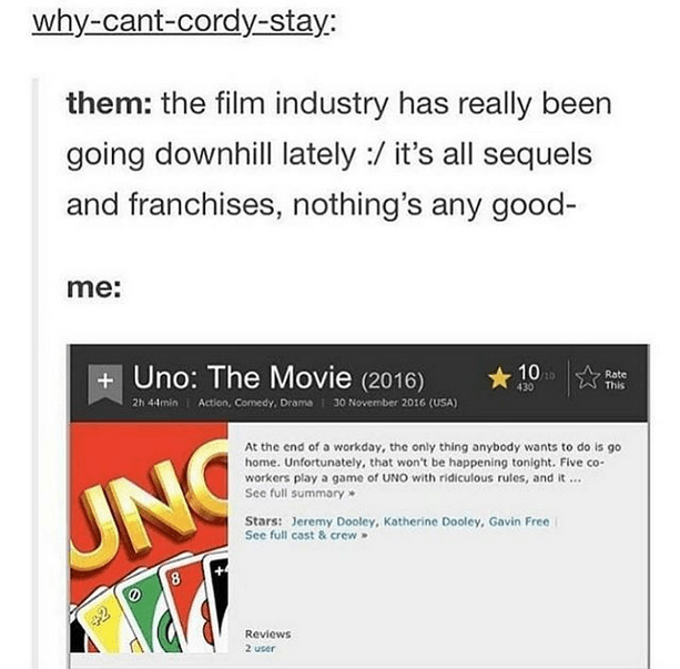 Text - why-cant-cordy-stay: them: the film industry has really been going downhill lately :/ it's all sequels and franchises, nothing's any good- me: + Uno: The Movie (2016) 2h 44min I Action, Comedy, Drama i 30 Novermber 2016 (USA) 10 Rate 430 This At the end of a workday, the only thing anybody wants to do is go home. Unfortunately, that won't be happening tonight. Five co- workers play a game of UNO with ridiculous rules, and it . See full summary UNG Stars: Jeremy Dooley, Katherine Dooley, G