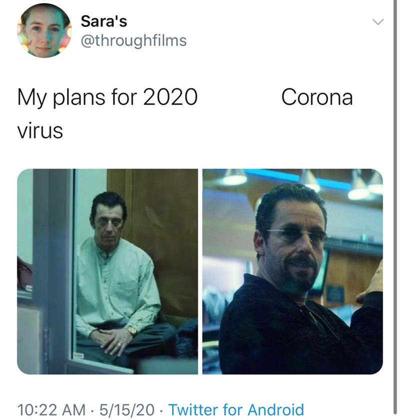 Text - Sara's @throughfilms My plans for 2020 Corona virus 10:22 AM · 5/15/20 · Twitter for Android