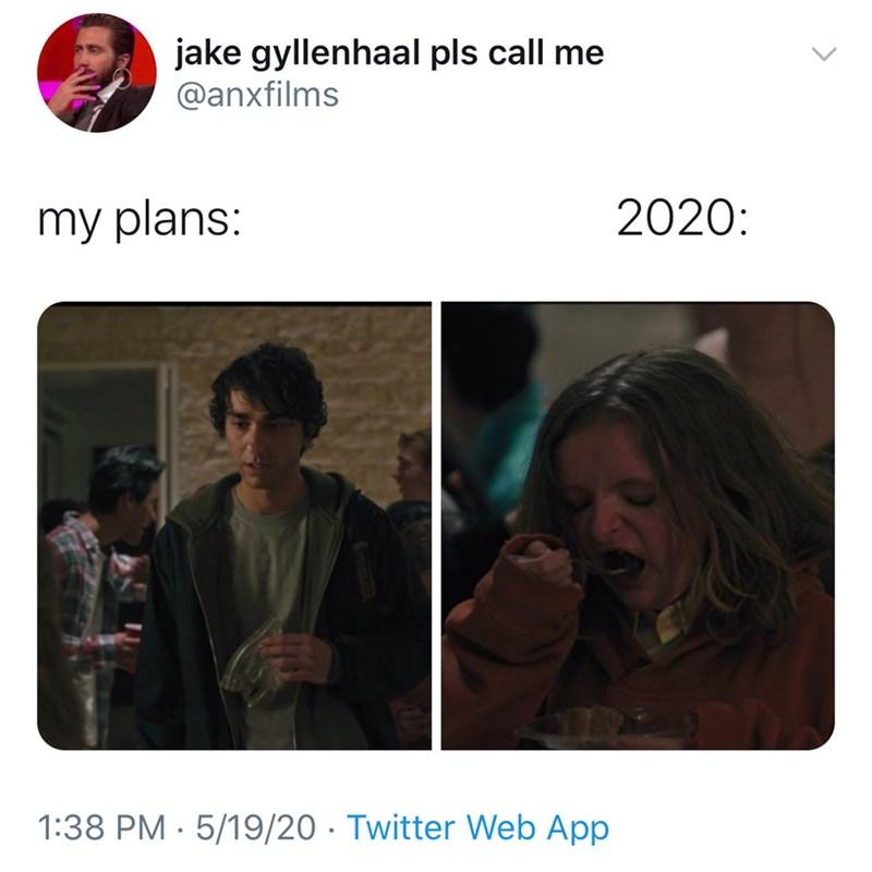 Text - jake gyllenhaal pls call me @anxfilms my plans: 2020: 1:38 PM · 5/19/20 · Twitter Web App <>