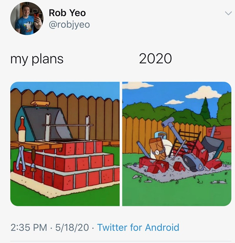 Cartoon - Rob Yeo @robjyeo my plans 2020 2:35 PM · 5/18/20 · Twitter for Android