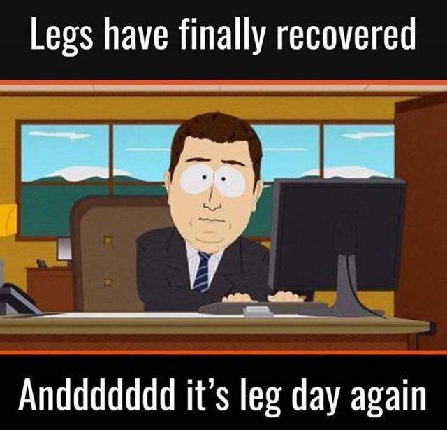 Cartoon - Legs have finally recovered Anddddddd it's leg day again