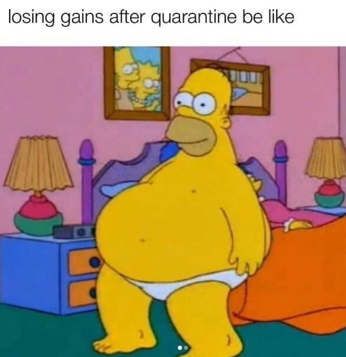 Animated cartoon - losing gains after quarantine be like BAS