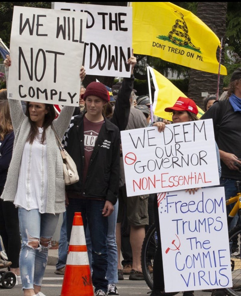 Protest - WE WILP THE NOT DOWN DONT TREAD ON ML COMPLY WE DEEM OUR GOVERNOR NON-ESsentiAL LC FreedoM TruMPS The COMMIE VIRUS