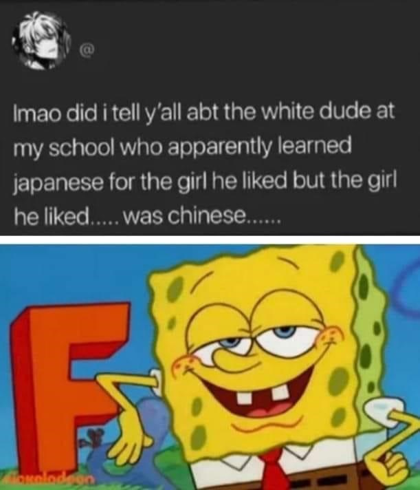 Cartoon - Imao did i tell y'all abt the white dude at my school who apparently learned japanese for the girl he liked but the girl he liked.. was chinese.. uolodeon