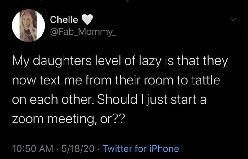 Text - Chelle @Fab_Mommy- My daughters level of lazy is that they now text me from their room to tattle on each other. Should I just start a zoom meeting, or?? 10:50 AM · 5/18/20 · Twitter for iPhone