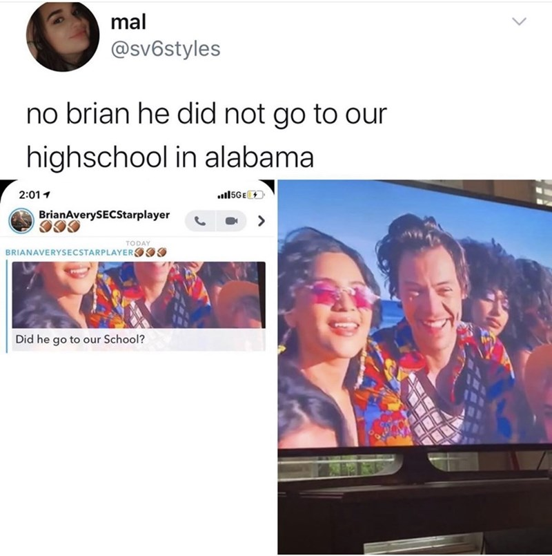 Product - mal @sv6styles no brian he did not go to our highschool in alabama 2:011 ull5GE BrianAverySECStarplayer TODAY BRIANAVERYSECSTARPLAYEROOO Did he go to our School?
