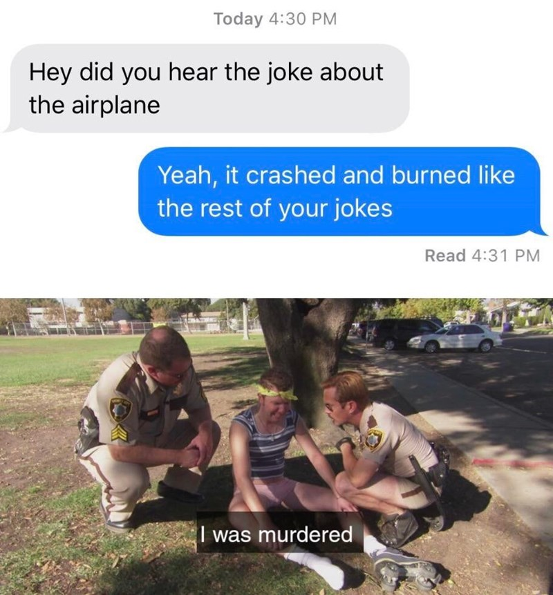 Adaptation - Today 4:30 PM Hey did you hear the joke about the airplane Yeah, it crashed and burned like the rest of your jokes Read 4:31 PM I was murdered