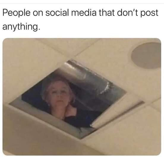 Text - People on social media that don't post anything.