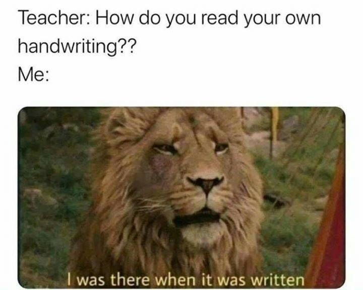 the lion the witch and the wardrobe Narnia Aslan Teacher: How do you read your own handwriting?? I was there when it was written