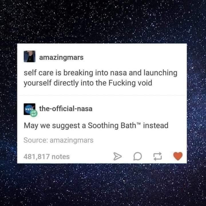 Text - amazingmars self care is breaking into nasa and launching yourself directly into the Fucking void a the-official-nasa May we suggest a Soothing Bath™ instead Source: amazingmars 481,817 notes