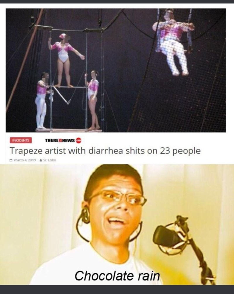 Photo caption - THEREISNEWS INODENTS Trapeze artist with diarrhea shits on 23 people a marzo 4, 2019 & Sr. Lobo Chocolate rain