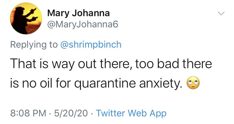 Text - Mary Johanna @MaryJohanna6 Replying to @shrimpbinch That is way out there, too bad there is no oil for quarantine anxiety. 8:08 PM · 5/20/20 · Twitter Web App