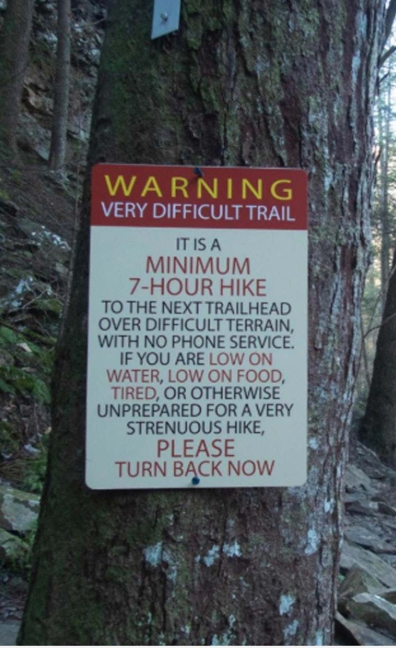 Nature reserve - WARNING VERY DIFFICULT TRAIL IT IS A MINIMUM 7-HOUR HIKE TO THE NEXT TRAILHEAD OVER DIFFICULT TERRAIN, WITH NO PHONE SERVICE. IF YOU ARE LOW ON WATER, LOW ON FOOD, TIRED, OR OTHERWISE UNPREPARED FOR A VERY STRENUOUS HIKE, PLEASE TURN BĄCK NOW
