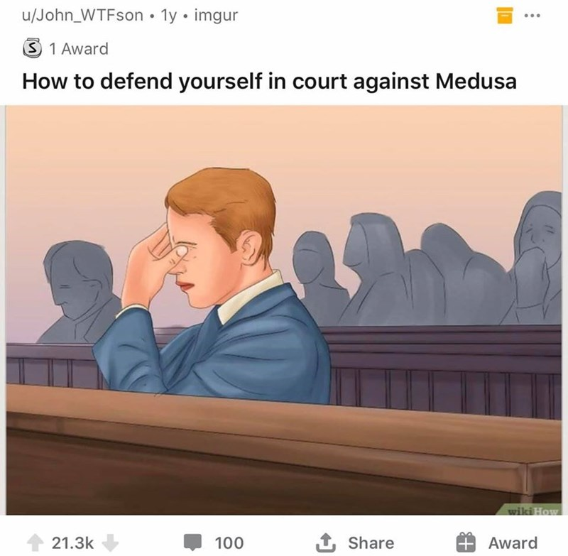 Text - u/John_WTFson • 1y • imgur 3 1 Award How to defend yourself in court against Medusa wiki How 1 21.3k 100 1 Share Award