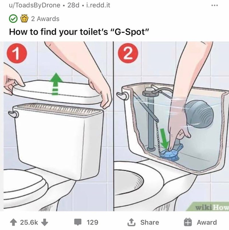 "u/ToadsByDrone • 28d • i.redd.it 2 Awards How to find your toilet's ""G-Spot"" wiki How 25.6k 129 1 Share Award"