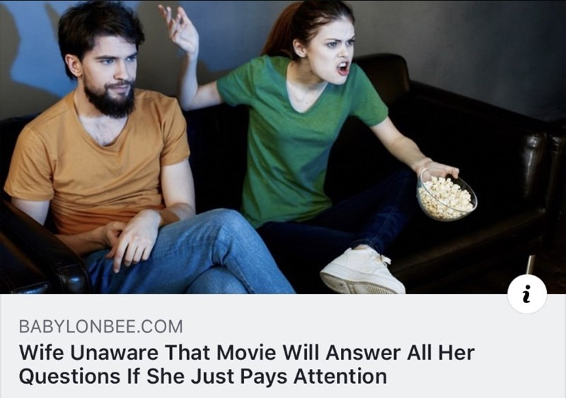 Product - i BABYLONBEE.COM Wife Unaware That Movie Will Answer All Her Questions If She Just Pays Attention