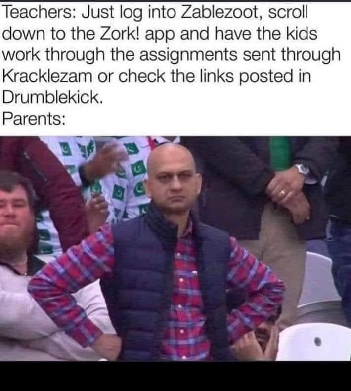 Photo caption - Teachers: Just log into Zablezoot, scroll down to the Zork! app and have the kids work through the assignments sent through Kracklezam or check the links posted in Drumblekick. Parents: