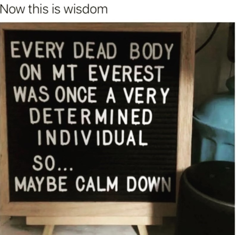 Font - Now this is wisdom EVERY DEAD B ODY ON MT EVEREST WAS ONCE A VERY DETERMINED INDIVIDUAL S0.. MAYBE CALM DOWN