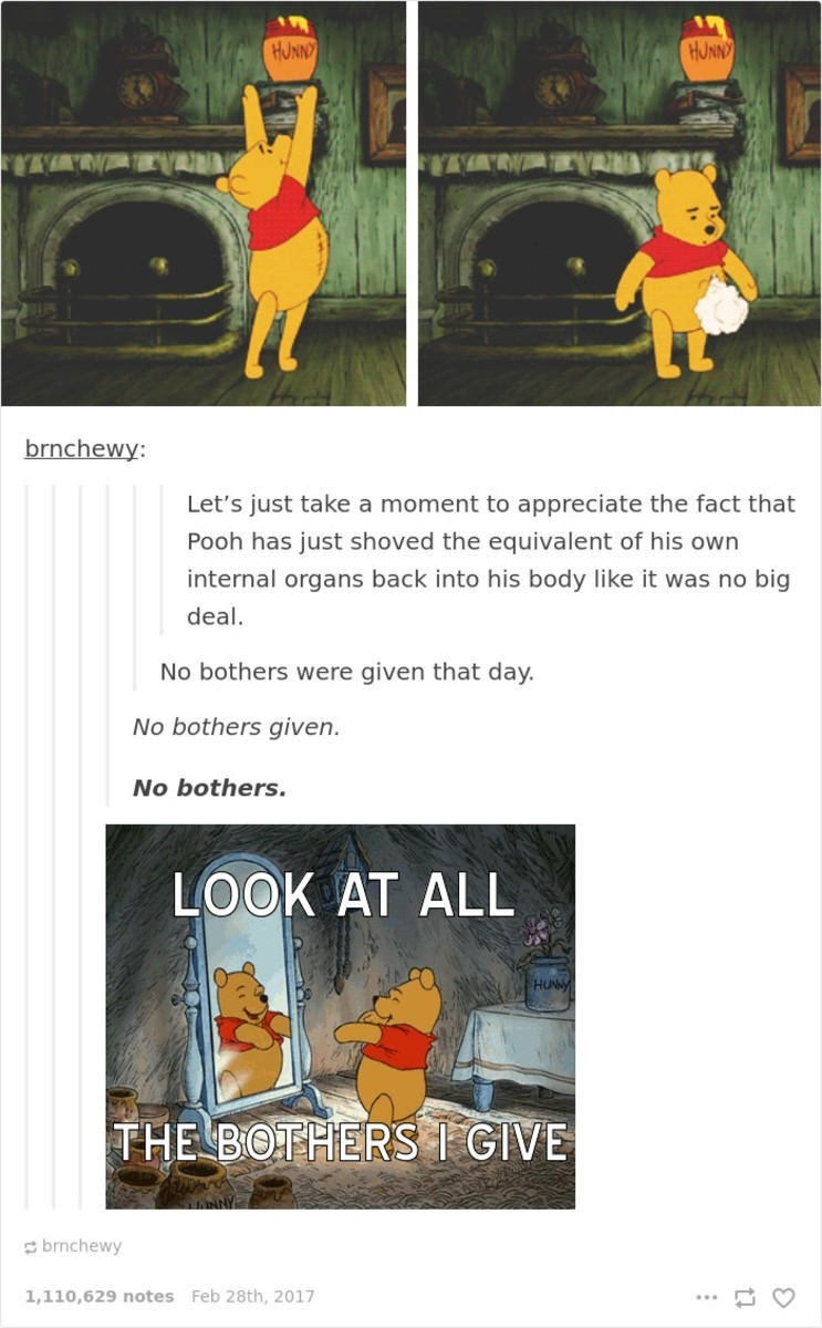 Text - HUNN HUNN brnchewy: Let's just take a moment to appreciate the fact that Pooh has just shoved the equivalent of his own internal organs back into his body like it was no big deal. No bothers were given that day. No bothers given. No bothers. LOOK AT ALL HUNNY THE BOTHERS I GIVE brnchewy 1,110,629 notes Feb 28th, 2017