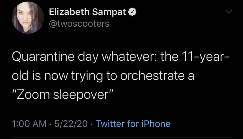 "Text - Elizabeth Sampat O @twoscooters Quarantine day whatever: the 11-year- old is now trying to orchestrate a ""Zoom sleepover"" 1:00 AM · 5/22/20 · Twitter for iPhone"