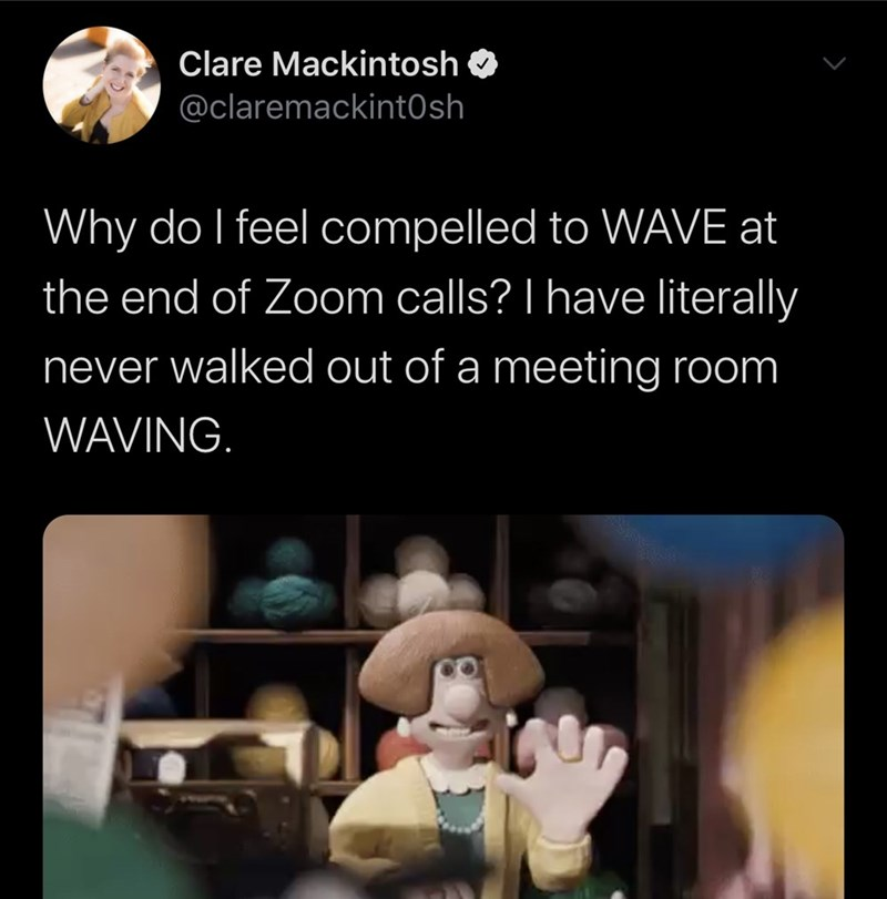 Text - Clare Mackintosh @claremackintOsh Why do I feel compelled to WAVE at the end of Zoom calls? I have literally never walked out of a meeting room WAVING.